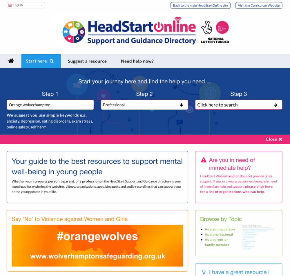 The HeadStart Support and Guidance platform