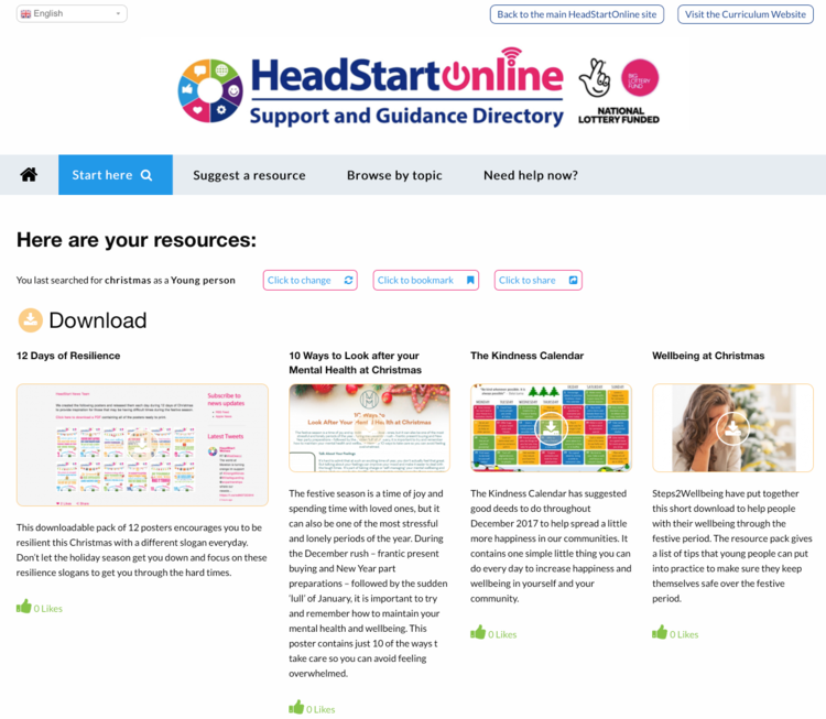 Christmas well-being resources from the HeadStart Support and Guidance Platform