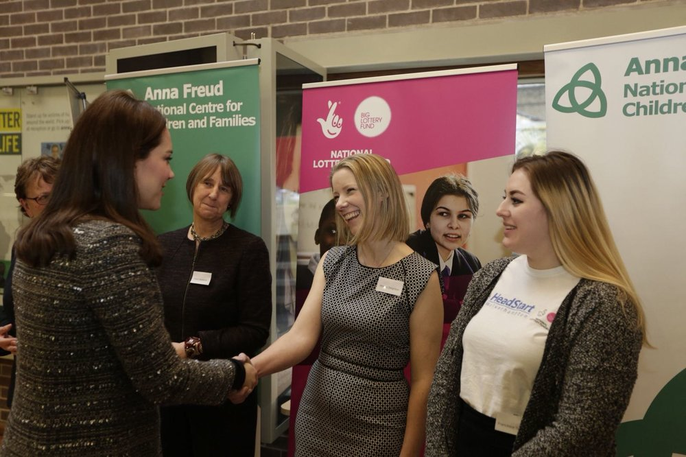 Her Royal Highness The Duchess of Cambridge meets attendees at conference, including HeadStart Assistant Young Person Engagement Coordinator Fran Turner.  Photo from Anna Freud National Centre for Children and Families .