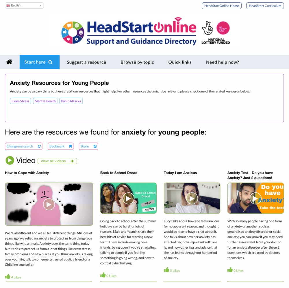 Anxiety Resources on the HeadStart Support and Guidance platform