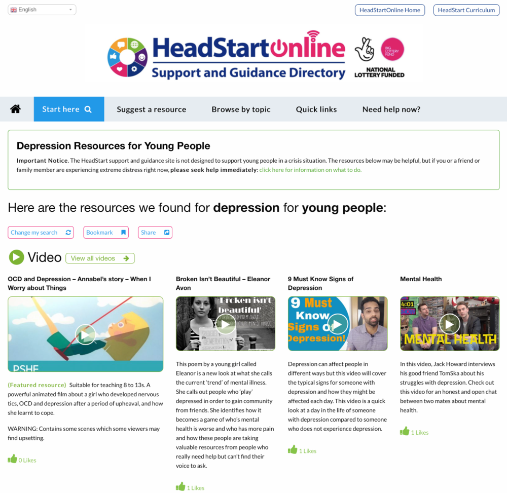 Depression Resources on the HeadStart Support and Guidance platform