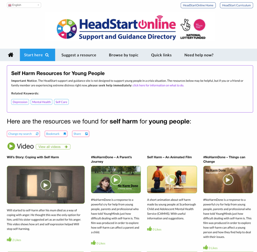 Self harm resources on the HeadStart Support and Guidance site