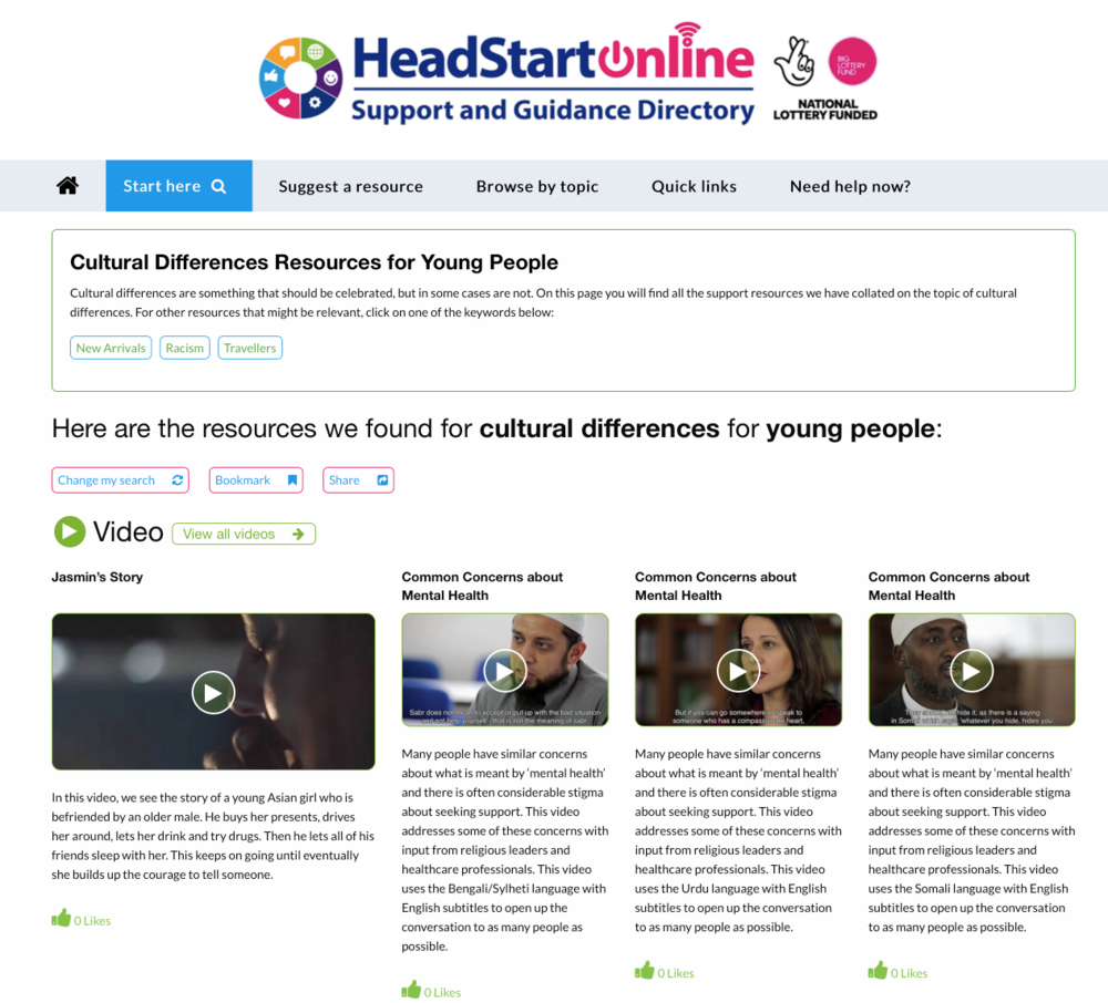 'Cultural Differences' Resources on the HeadStart Support and Guidance platform