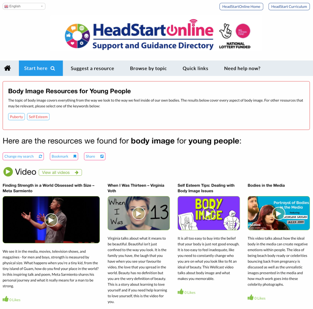 Body Image Resources on the HeadStart Support and Guidance site