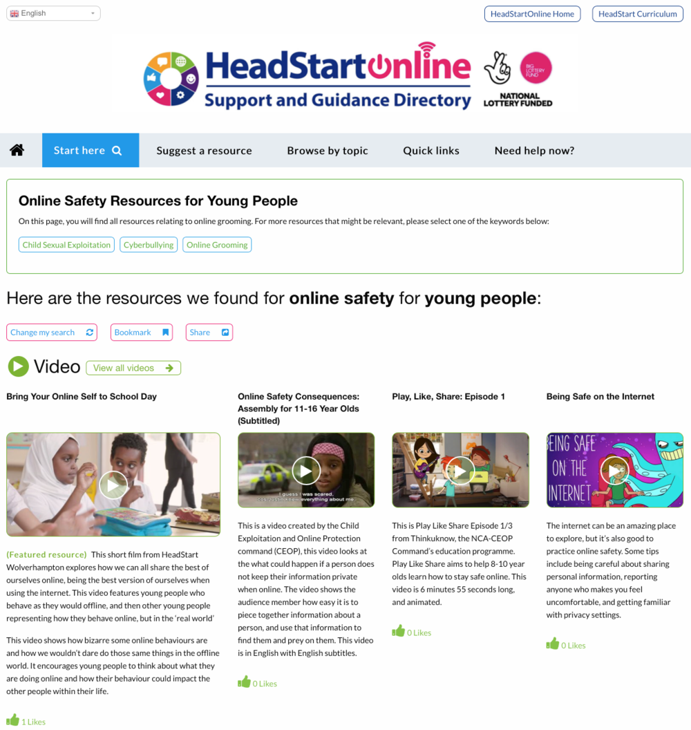Online Safety Resources on the HeadStart Support and Guidance site