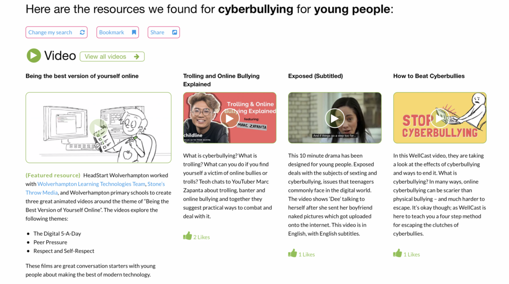 Cyberbullying Resources on the HeadStart Support and Guidance Site