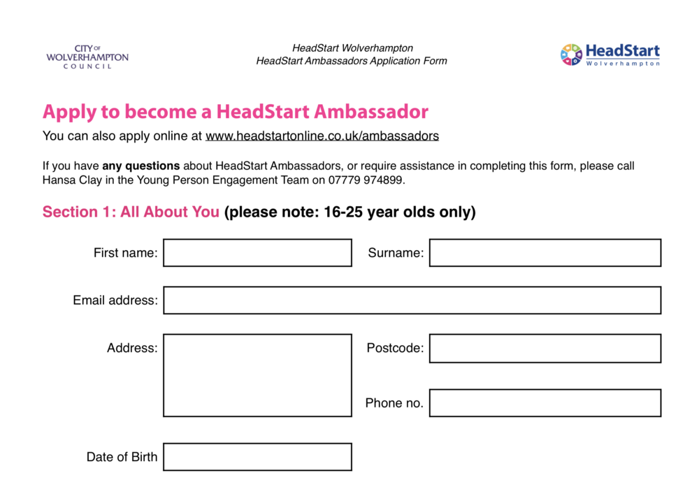 Download HeadStart Ambassador Application Form  (PDF)