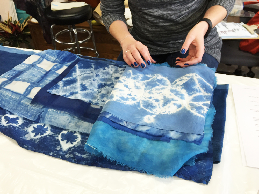 Hand-dyed indigo pieces by Melissa Whitwam.