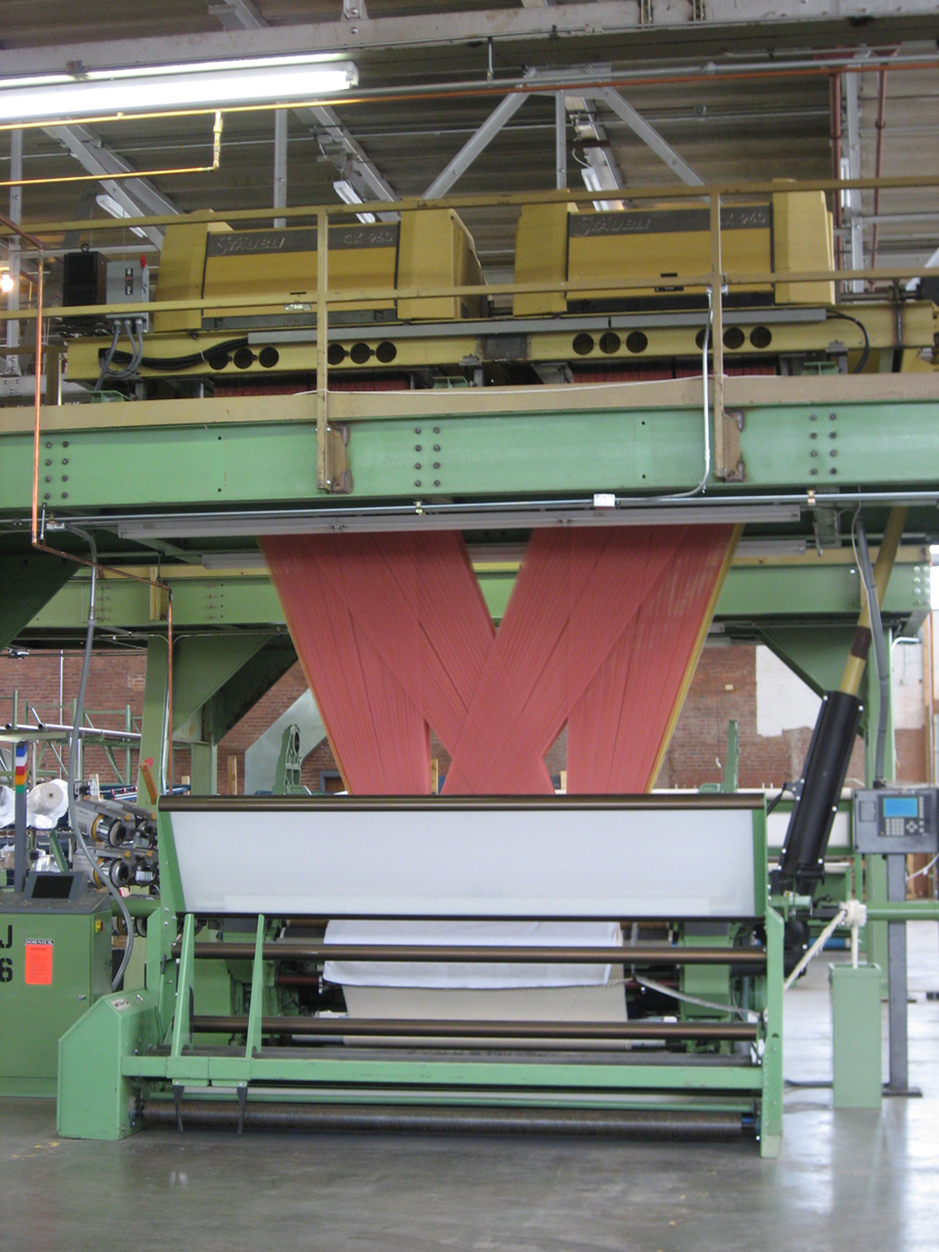 An industrial Jacquard loom.