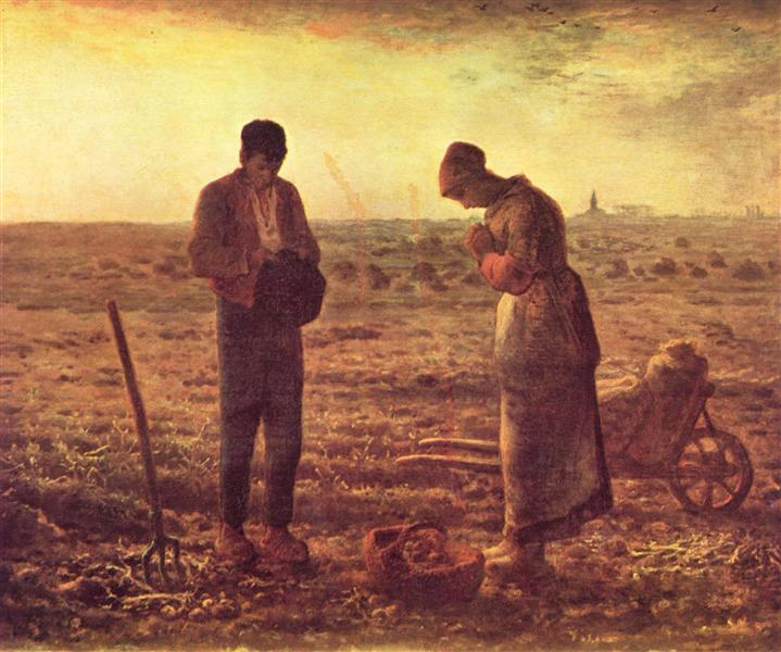 The Angelus , Jean-Francois Millet, 1857 - 1859.