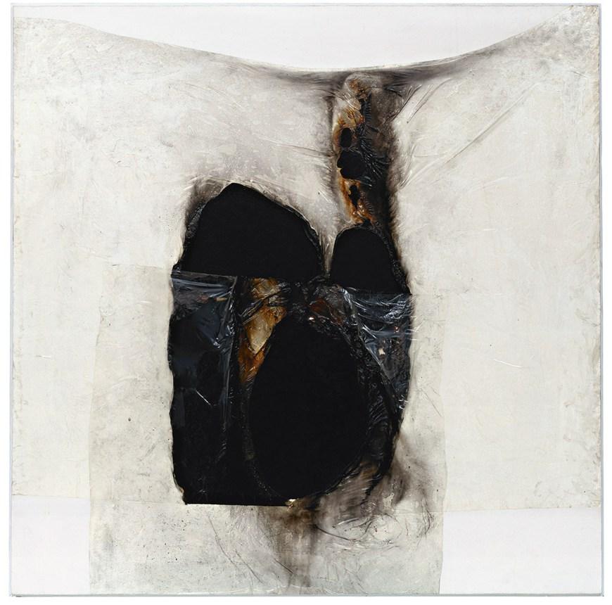 Bianco B (White B) by Alberto Burri, 1965.