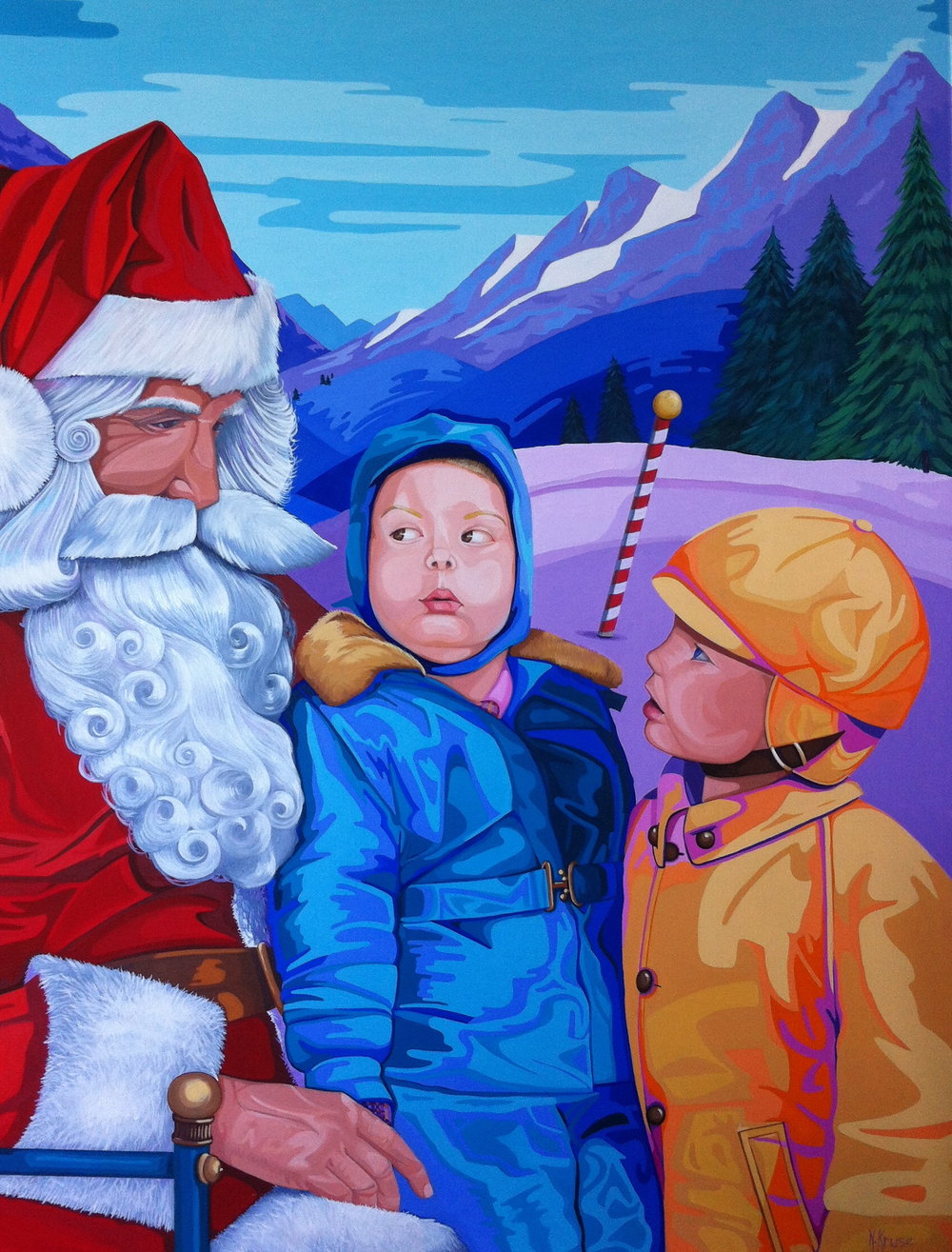 "The Boys Visit Santa , 30"" x 40"", oil on linen, 2016."