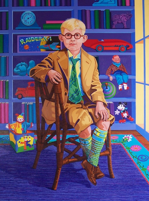 "A Young Mr. Peabody in The Library , 30"" x 40"", oil on linen, 2012."