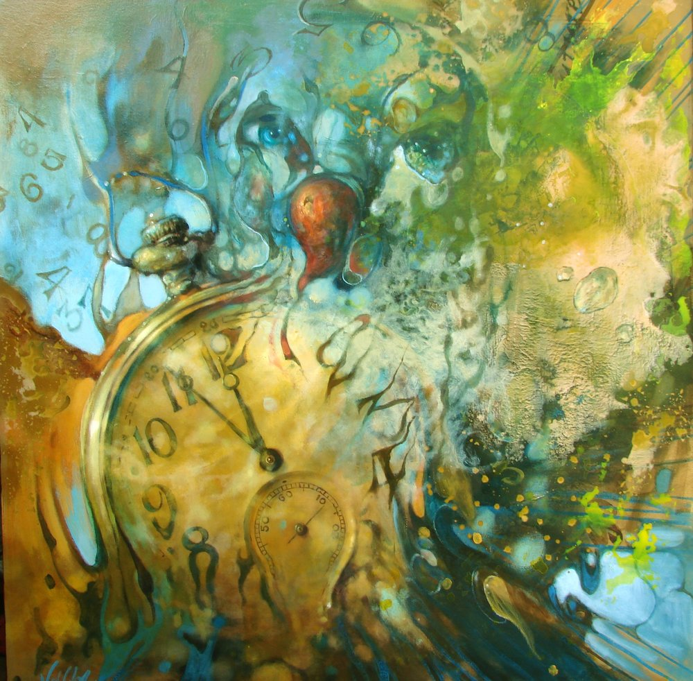 """Time Joker"" by Voytek. 48 x 48 inches."