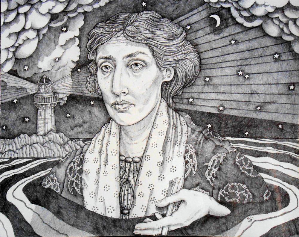 Women in Water: Virginia Woolf off the Isle of Skye | Savannah Schroll-Guz | Ink on paper