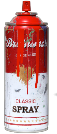 Mr. Brainwash's spray cans.