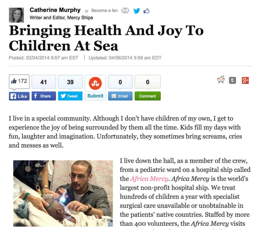 02/04/2014 BRINGING HEALTH AND JOY TO CHILDREN AT SEA The Huffington Post