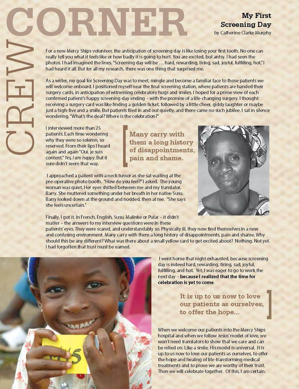 Fall 2012 Mercy Ships Magazine