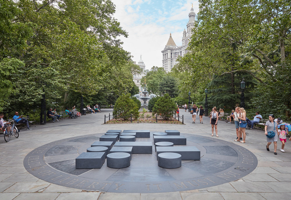 sculpture-center :     WHAT'S ON:    The Language of Things      featuring works by Carol Bove, Tino Sehgal, Claudia Comte, Michael Dean, Adam Pendleton, Chris Watson, and Hannah Weiner, June 28, 2016- September 29, 2016. Public Art Fund, City Hall Park, 31 Chambers Street New York, NY 10007.    Installation view, Adam Pendleton,  Untitled (Code Poem) , Public Art Fund, 2016. Courtesy the artist and Public Art Fund.     Click here   to view Carol Bove's contribution to the SculptureCenter book  Where is Production? Inquiries into Contemporary Sculpture,  edited by Mary Ceruti and Ruba Katrib.      www.sculpture-center.org