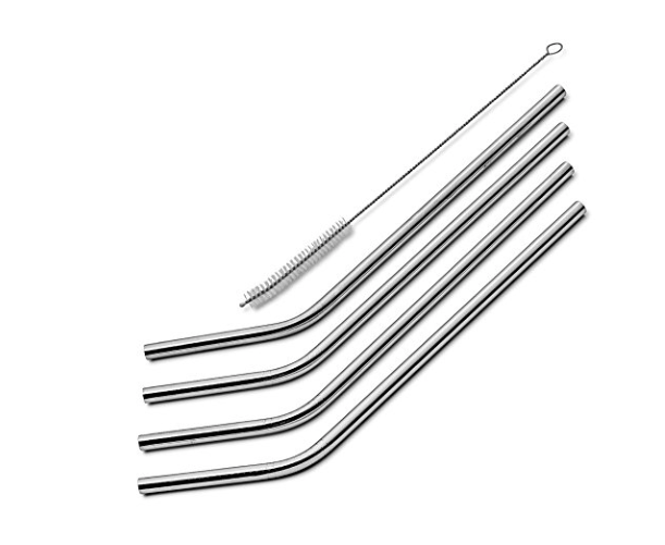 Sipwell set of 4 stainless steel straws with cleaning brush