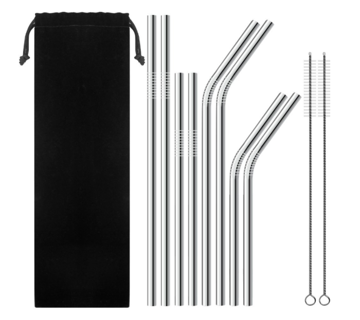 Set of 8 stainless steel straw of various sizes with cleaning brush