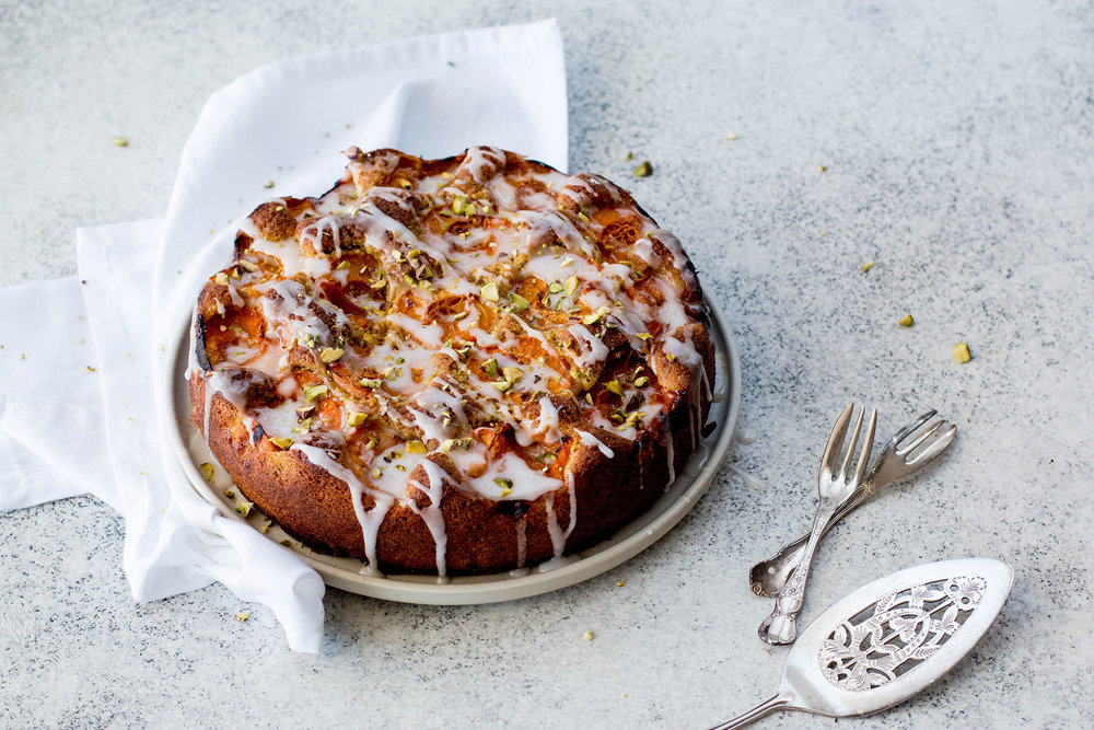 Red Apricot, Pistachio & Lemon Cake