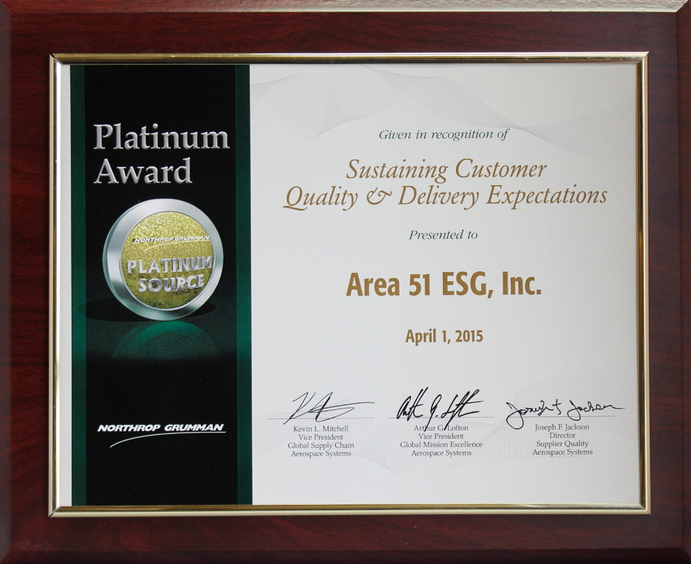 Northrop Grumman 2015 Platinum Level - Platinum Source Award