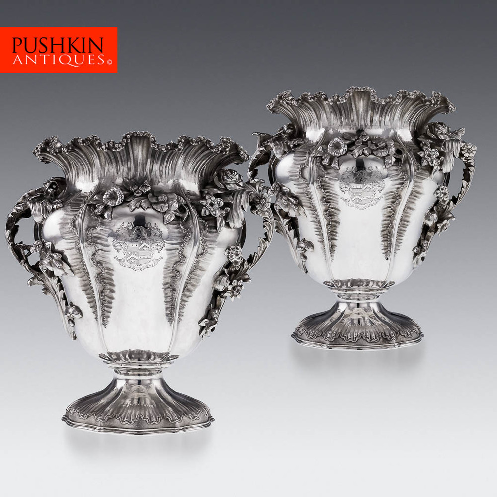 ANTIQUE 19THC GEORGIAN SOLID SILVER EXCEPTIONAL WINE COOLERS, B SMITH C.1825