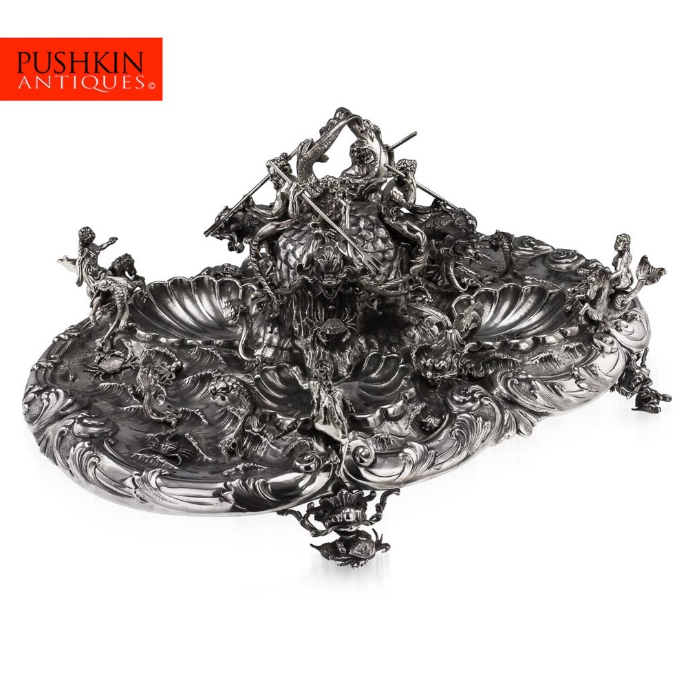 EXCEPTIONAL AND MASSIVE ITALIAN SOLID SILVER FOUNTAIN CENTERPIECE, MILAN C1950