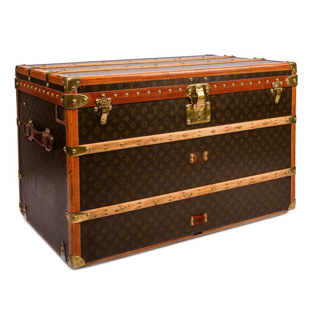 ANTIQUE 20THC LOUIS VUITTON MONOGRAM HAUTE COURIER / STEAMER TRUNK C.1900