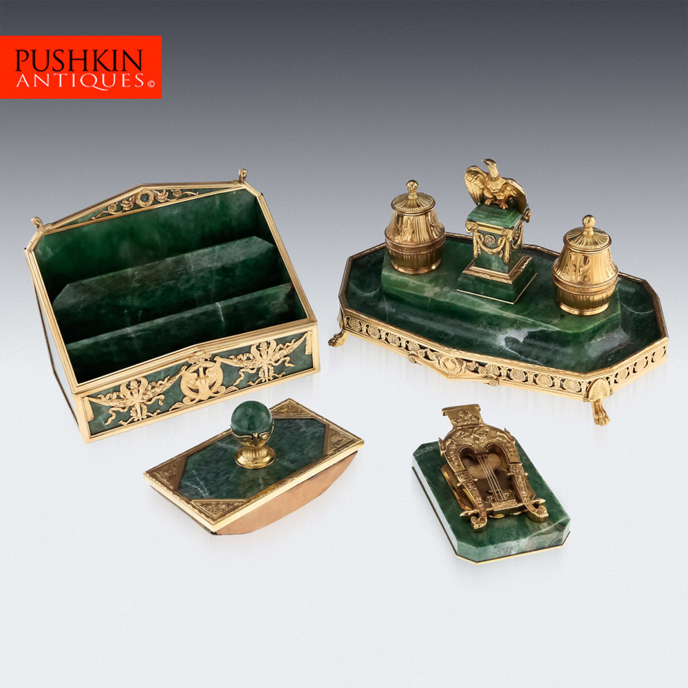 ANTIQUE 19thC FRENCH EMPIRE STYLE SOLID SILVER & MARBLE IMPRESSIVE DESK SET  1890.jpg - Pushkin Antiques - French Silver - Full Article