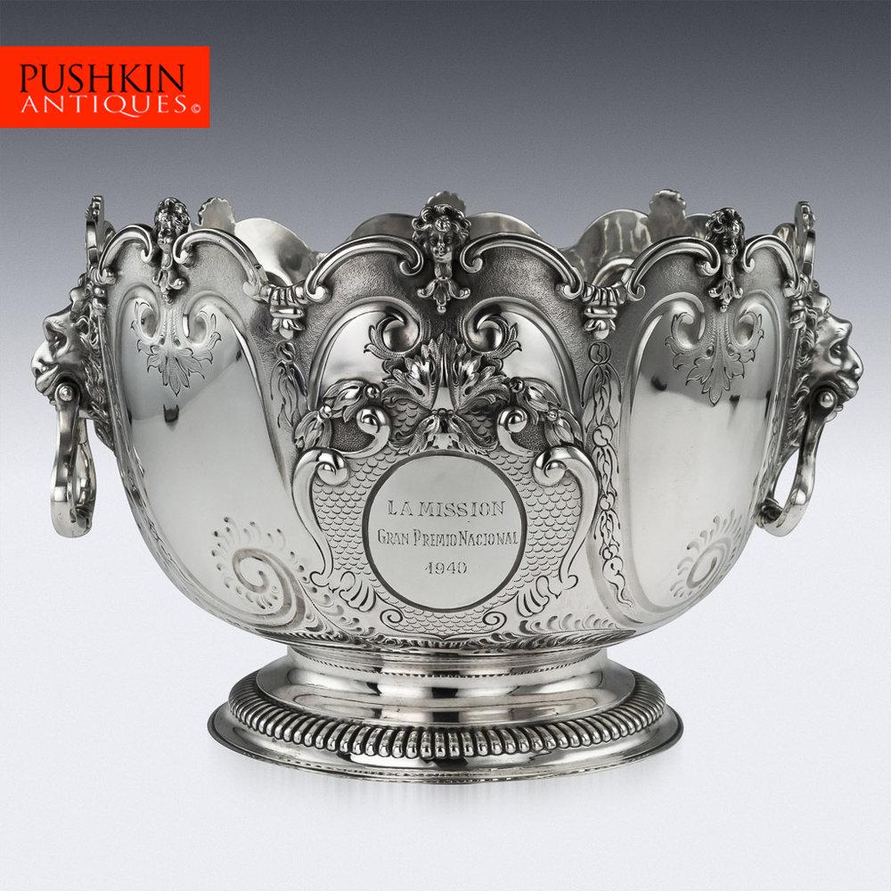 Pushkin antiques antique 19thc victorian impressive solid silver punch bowl garrard co c 1895