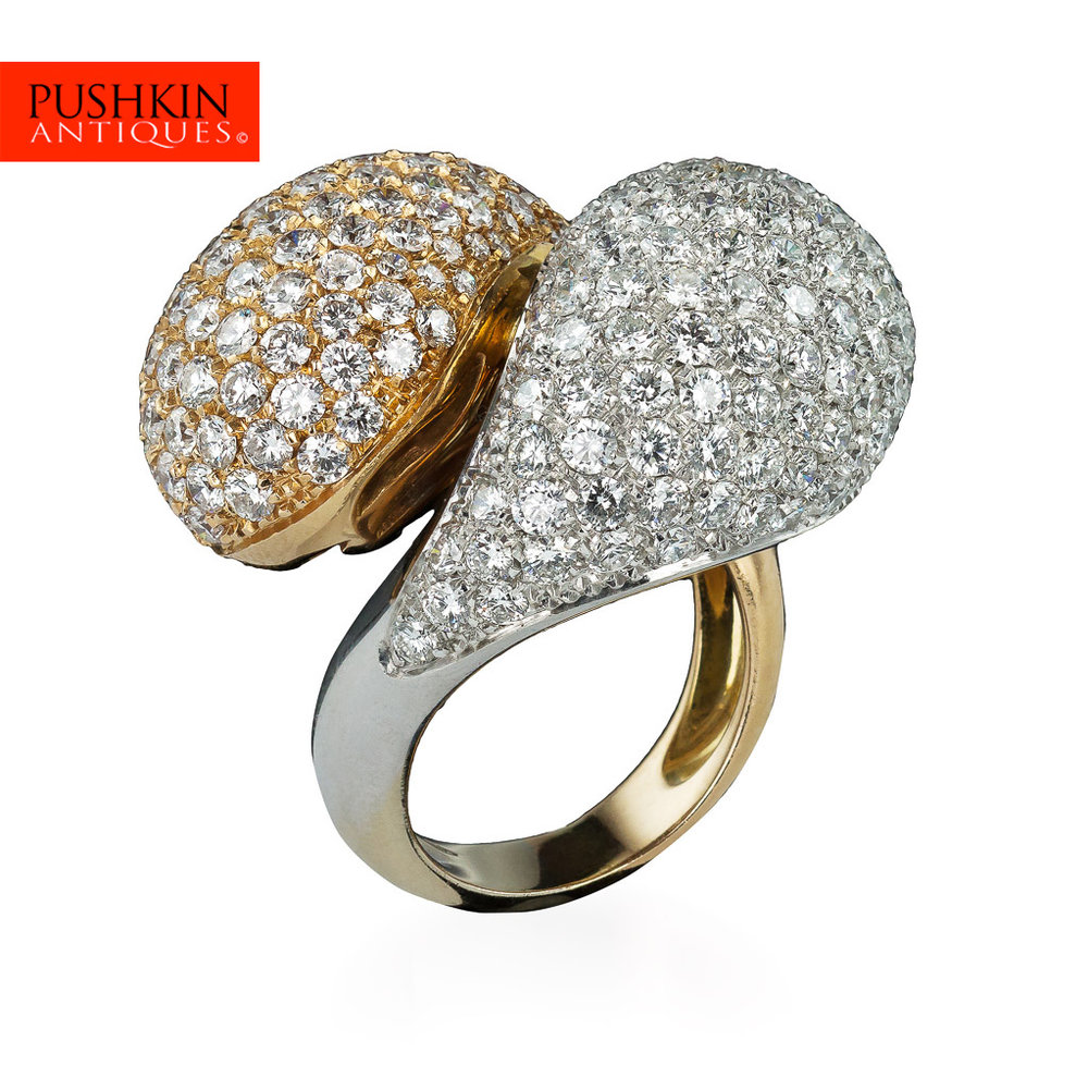 Pushkin Antiques STYLISH DOUBLE DOMED DIAMONDS TWO COLOUR GOLD