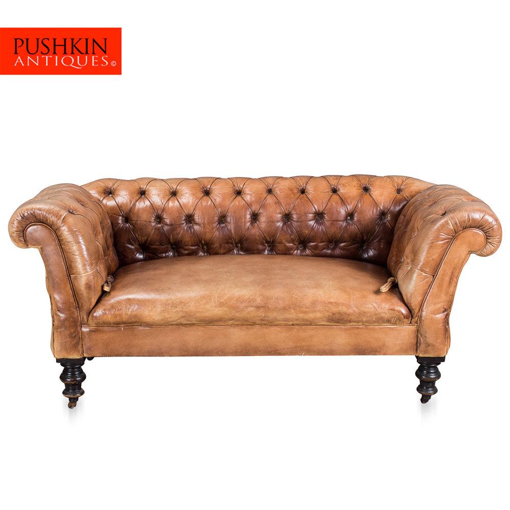 ANTIQUE 19thC VICTORIAN DROP ARM LEATHER SOFA C1880 Antique Leather Sofa N68
