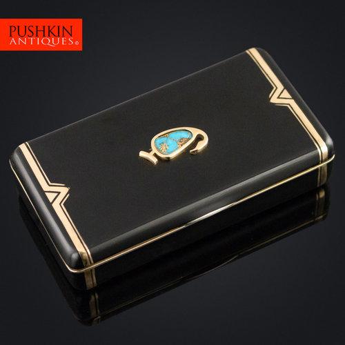183cd7f399 pushkin antiques - ANTIQUE 20thC CARTIER 18K GOLD   ENAMEL TURQUOISE SET  VANITY CASE c.