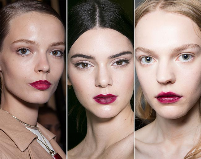 Looks from left to right: Trussardi, Dolce&Gabbana and No. 21, photo behind  this link . No. 21 is my favorite with lips that look like applied care-freely by finger, from a bowl of juice berries or the color would be bitten through the lips!