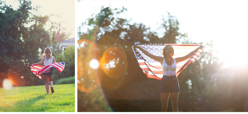 You've Got Flair | Clare's Garden Summer Senior Session, Clare & American Flag, Senior 2015