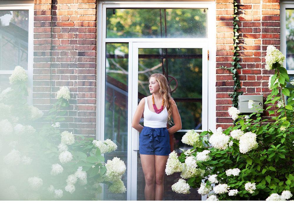 You've Got Flair | Clare's Garden Summer Senior Session, Clare Against Hydrangeas & Greenhouse, Senior  2015