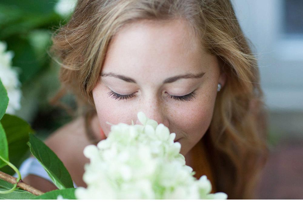 You've Got Flair | Clare's Garden Summer Senior Session, Clare Smelling Hydrangeas, Senior 2015