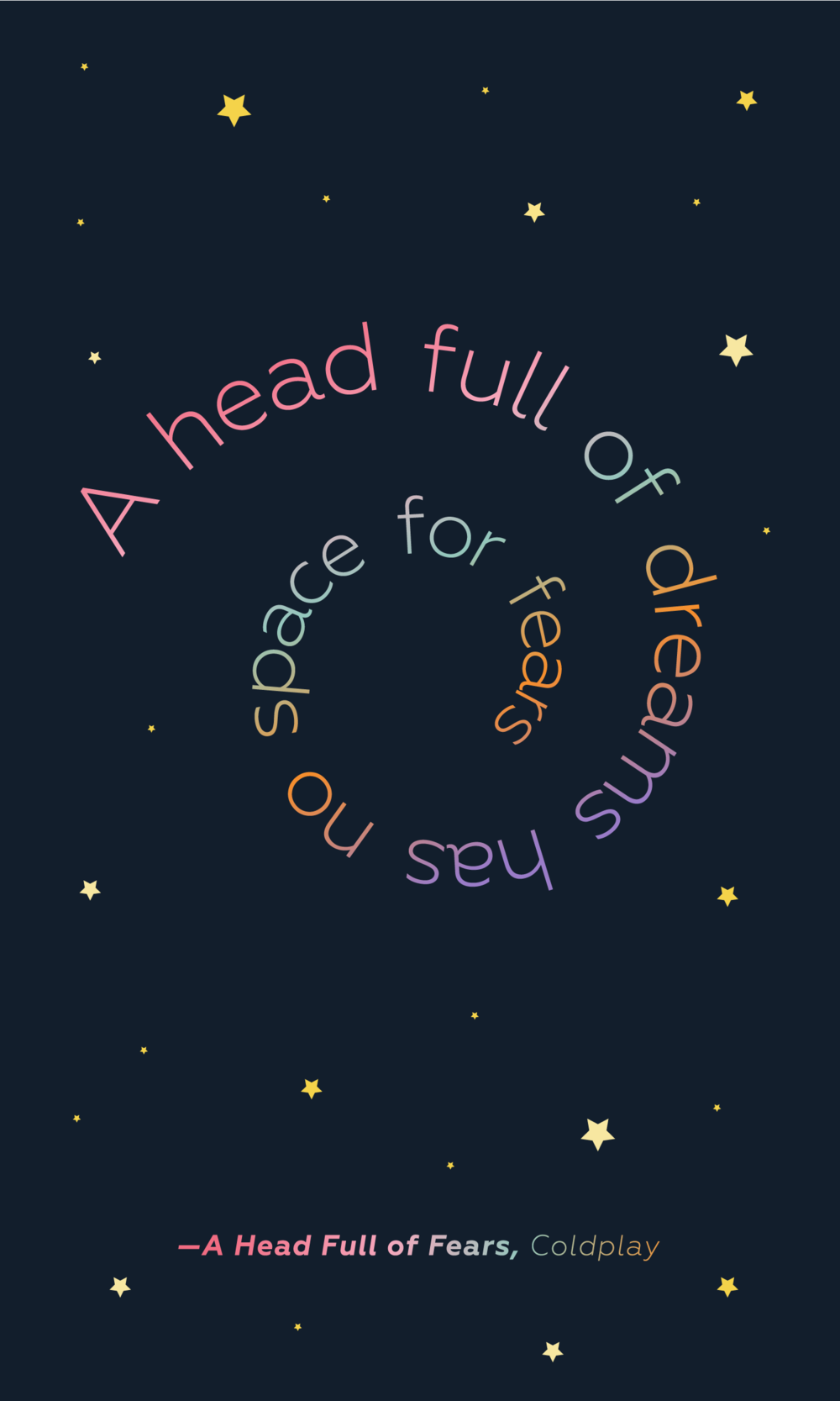 A Head Full of Fears Lyric Design | You've Got Flair
