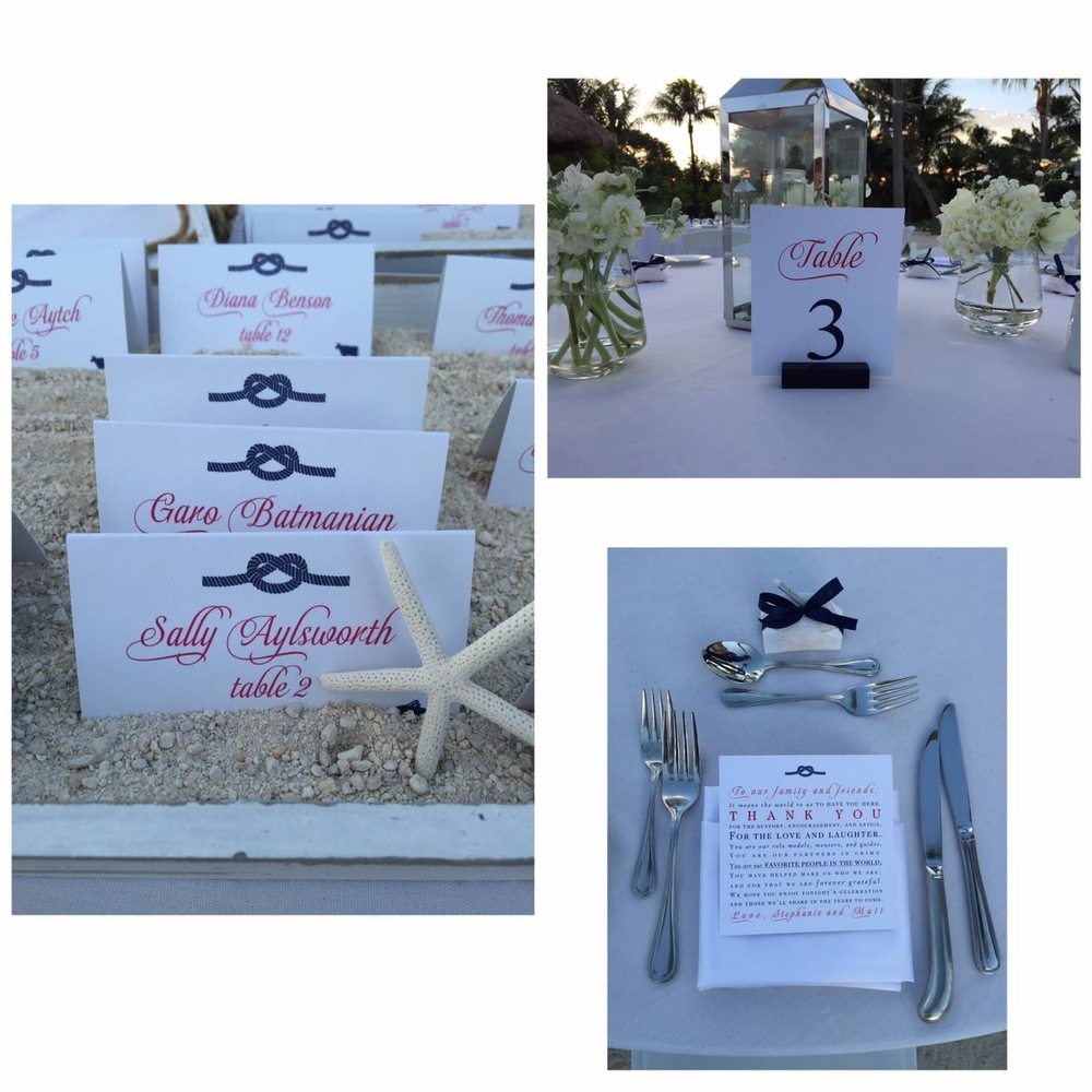 florida keys wedding table cards and menus