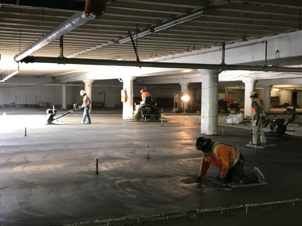 Pouring basement level of new library