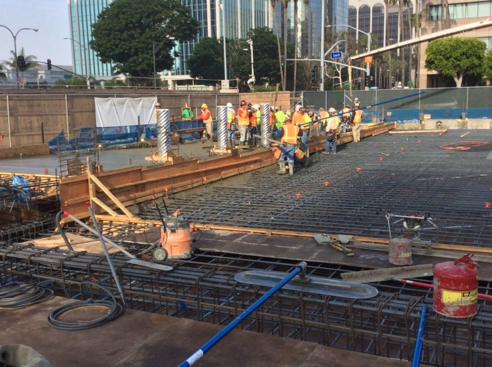 First plaza level concrete pour