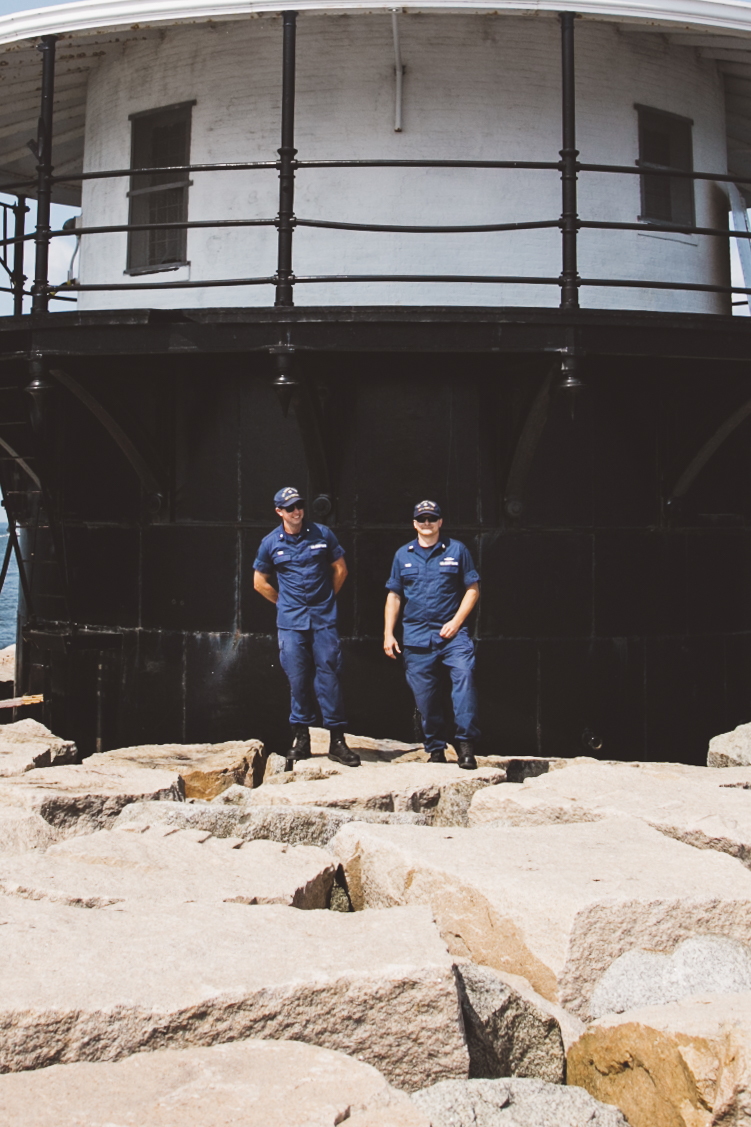 EM3 Tade and EM1 Robb at Spring Point Ledge Light. Photo © Jenny Rebecca Nelson