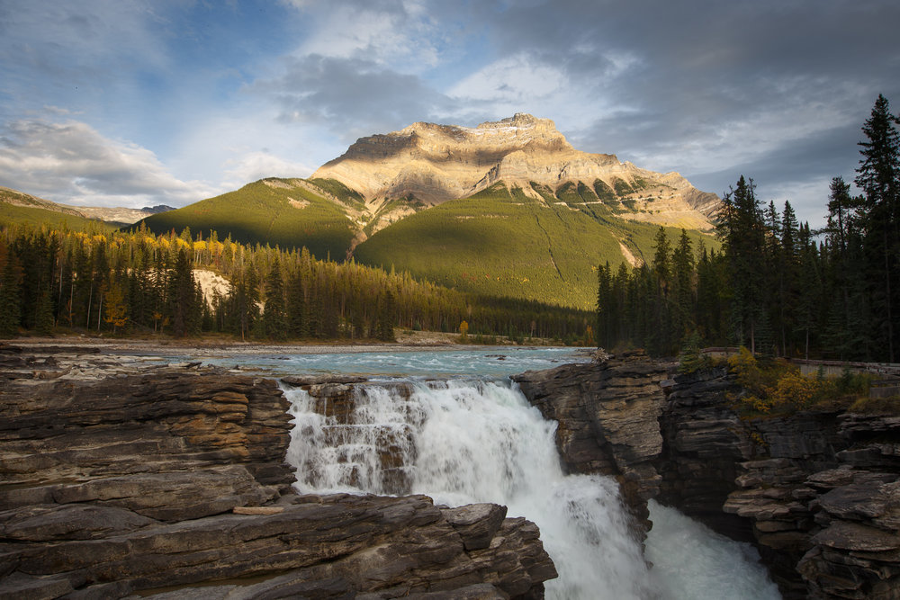 "Athabasca Falls, Jasper National Park, Alberta, shortly before sunset, with no filter. The water and clouds are ""frozen"".    ISO 100, 23mm, f/10, 1/40"""