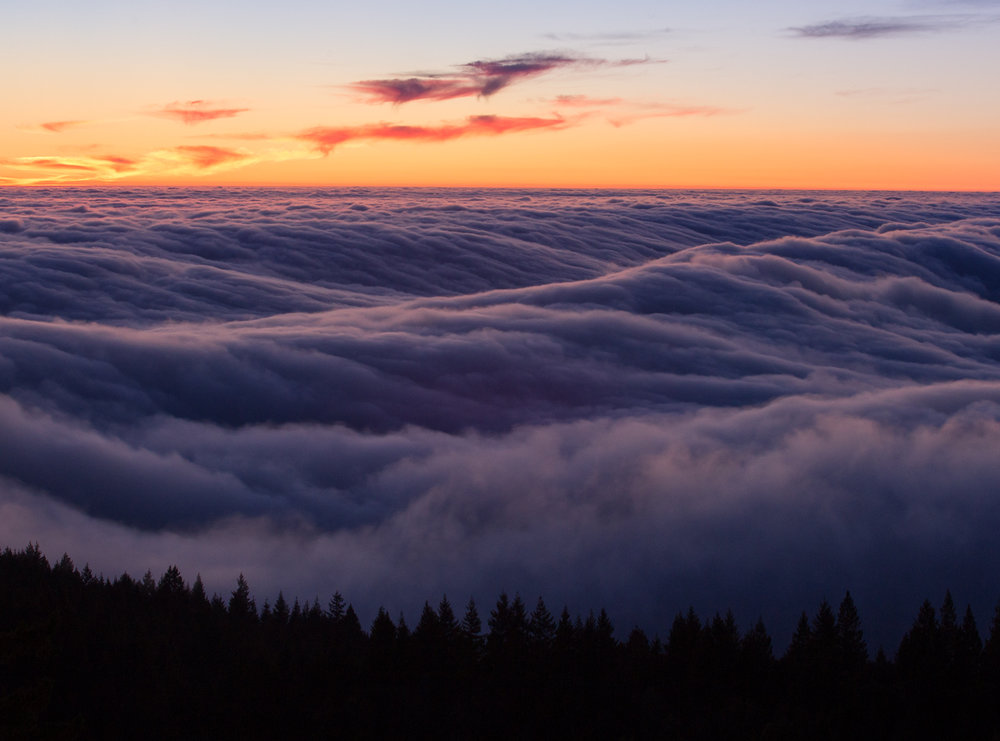 Marine layer fog flows over coastal ridges in Marin County, California. No filter used. The fog appears 'frozen'.   ISO 400, 70mm (cropped), f/14, 0.3""
