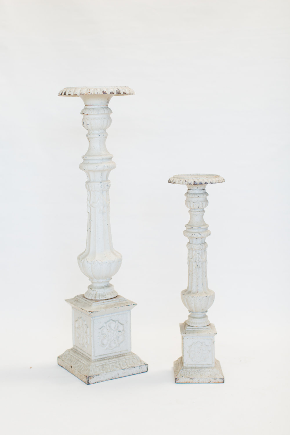 White Washed Iron Floor Candlesticks