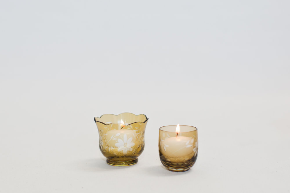 Chocolate Brown Etched Votives