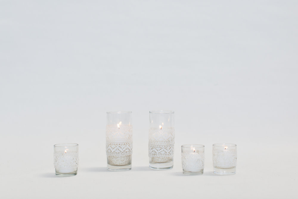 White Lace Wrapped Votives