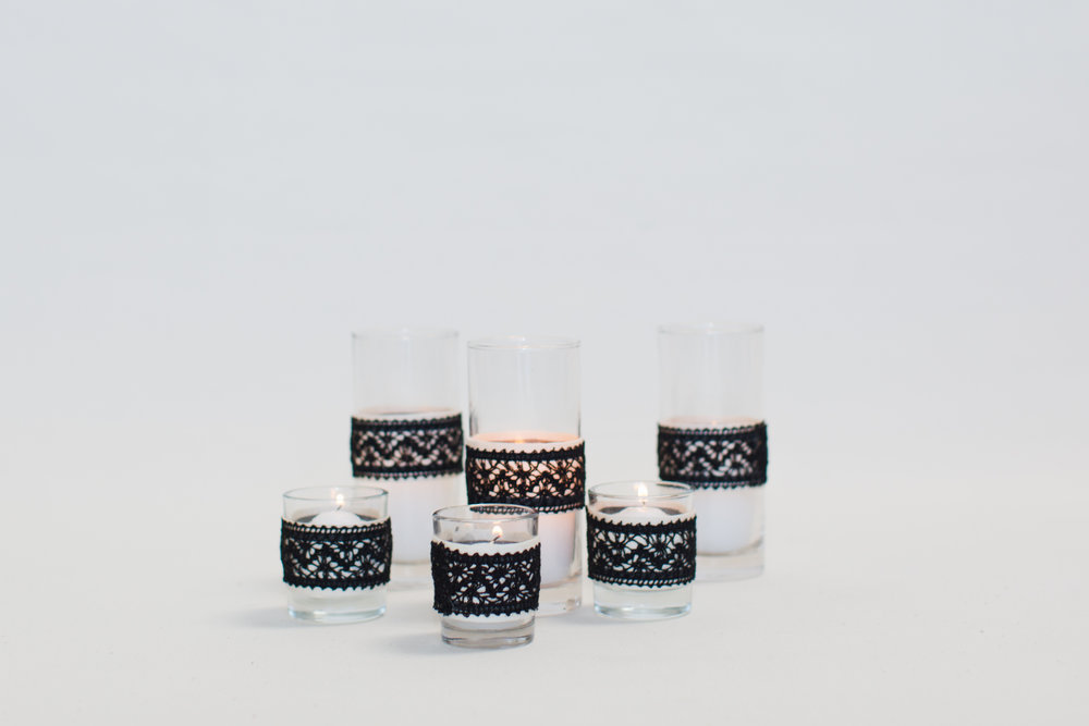 Black Lace Wrapped Votives